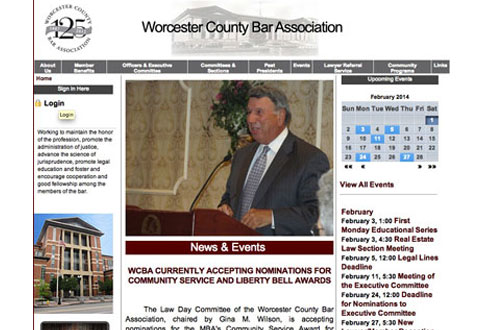 image of worcester county bar website